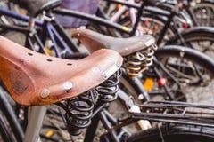 皮革自行车鞍座 库存图片