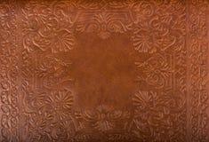 皮革花卉样式背景 免版税库存图片