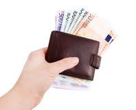 皮革钱包和欧洲货币,欧洲 免版税库存照片