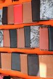 皮革钱包用不同的树荫 库存照片