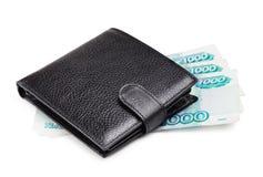黑皮革钱包 免版税库存图片