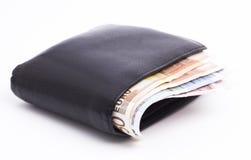 黑皮革钱包 免版税图库摄影