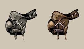 皮革骑马马鞍,手拉的例证 库存图片
