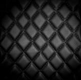 黑皮革织品样式背景 免版税库存图片