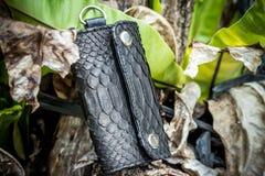 皮革Keychain,手工制造snakeskin Python 巴厘岛 绿色和木背景 免版税库存图片