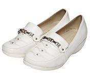 皮革s穿上鞋子白人妇女 免版税库存图片