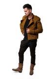 皮靴和花梢夹克 免版税库存照片