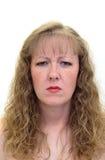 皱眉头的妇女 免版税库存照片