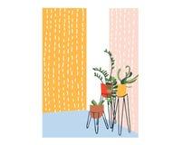 盆栽植物家装饰例证 传染媒介室内设计 议院种植汇集 库存照片