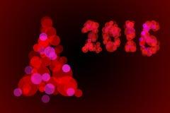 2016盏红色圣诞灯bokeh 免版税库存图片