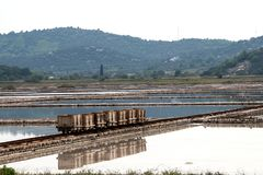 盐厂在Ston 免版税库存照片