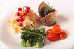 盐味的圆白菜用蕃茄和黄瓜 免版税库存图片