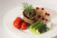 盐味的圆白菜用蕃茄和黄瓜 免版税库存照片