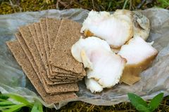 盐味的猪油和薄脆饼干食物在自然 库存图片