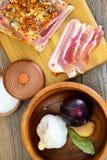 盐味的猪油,未加工的猪肉用在木的香料 图库摄影
