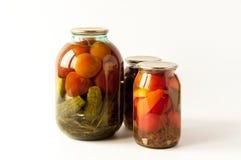 盐味的蕃茄和黄瓜 库存照片