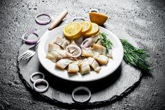 盐味的鲱鱼内圆角与切片的柠檬、葱和草本 免版税库存图片
