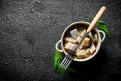 盐味的鲱鱼内圆角在一个碗的用莳萝 库存照片