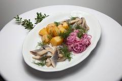 盐味的鲱鱼切片用煮的土豆 图库摄影