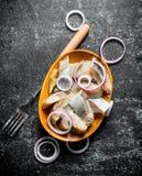 盐味的鲱鱼片断在一块板材的有叉子和切的葱的 库存照片