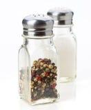盐和胡椒罐,被隔绝 免版税库存图片