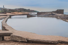 盐岩石海滩 库存照片
