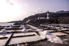 盐平底锅在丰卡连特角,拉帕尔玛岛,加那利群岛 图库摄影