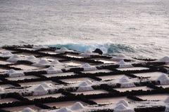 盐平底锅在丰卡连特角,拉帕尔玛岛,加那利群岛 免版税库存图片