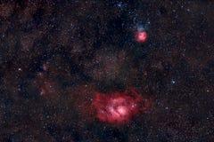 盐水湖和三裂星云在人马座 库存照片