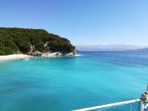 盐水湖在科孚岛海岛北部的希腊 免版税库存照片