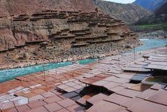 盐沼在西藏 免版税库存图片