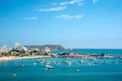 盐沼海滩和游艇俱乐部在厄瓜多尔 免版税库存照片