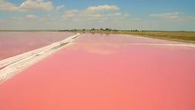 盐海水蒸发鸟瞰图筑成池塘与桃红色浮游生物颜色 影视素材