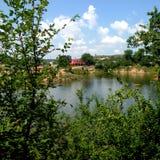 盐湖在锡比乌盐矿镇,在锡比乌Hermanstadt附近,特兰西瓦尼亚 免版税库存图片