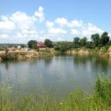 盐湖在锡比乌盐矿镇,在锡比乌Hermanstadt附近 免版税库存照片