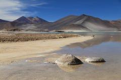 盐湖在阿塔卡马沙漠,智利 免版税图库摄影