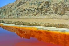 盐湖在Neqev沙漠在一个晴天 以色列 图库摄影
