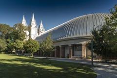 盐湖城临时房屋和寺庙圣殿广场盐湖城 库存照片