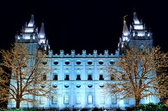 盐湖城寺庙正方形圣诞灯 库存图片