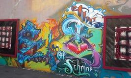 盐湖城:街道画墙壁 库存图片