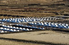 盐溶在盐沼de Janubio,兰萨罗特岛的堆 库存图片