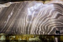 盐溶在盐矿粪的墙壁,科鲁,罗马尼亚 免版税图库摄影