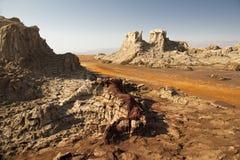 盐溶岩石和形成在Danakil消沉,埃塞俄比亚 免版税库存图片