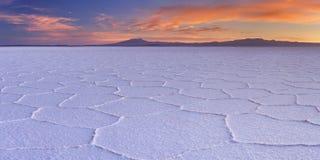 盐溶平的撒拉族de Uyuni在玻利维亚在日出 免版税库存照片