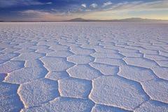 盐溶平的撒拉族de Uyuni在玻利维亚在日出 免版税库存图片