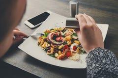 盐溶沙拉用章鱼和菜 库存照片
