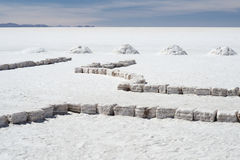 盐溶砖和堆在世界` s最大的盐舱内甲板撒拉族de Uyuni的盐 库存照片