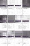 盐溶箱子和鳕鱼灰色色的几何样式日历2016年 库存图片