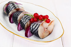 盐用卤汁泡的鲭鱼用红浆果和葱 库存图片