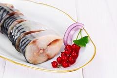 盐用卤汁泡的鲭鱼用红浆果和葱 图库摄影